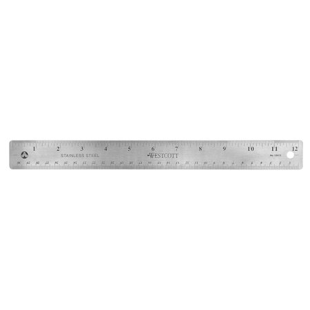 Westcott Stainless Steel Office Ruler With Non Slip Cork Base  12 Inch