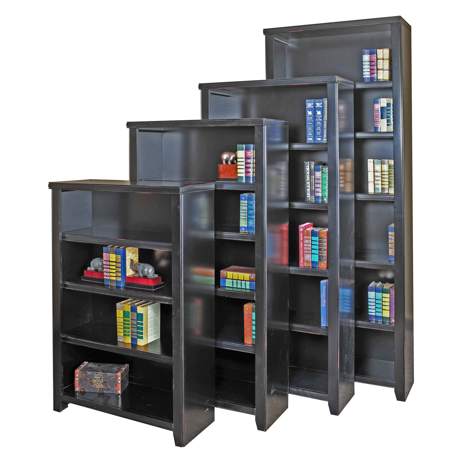 Martin Furniture Tribeca Loft Black Office Collection Bookcase with Three Adjustable Shelves