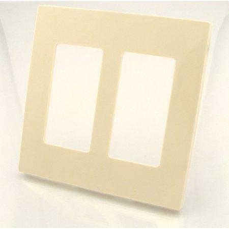 Leviton 80309-A 2-Gang Decora Wallplate Screwless, Almond Almond Decora Wall Plate