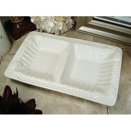 D'lusso Designs Couture Line 2 Section Divided Serving Dish