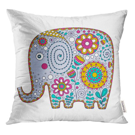 STOAG Cute Elephant Cartoon Floral Doodle Nice Bishop for Babies Throw Pillowcase Cushion Case Cover 16x16 inch ()