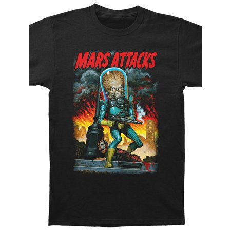Mars Attacks! Men's  City Destruction Slim Fit T-shirt (30 Seconds To Mars Vintage T Shirt)
