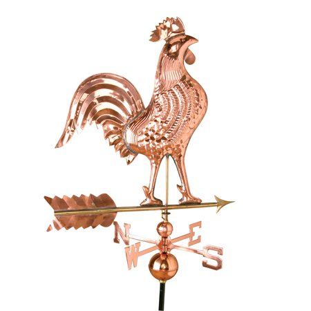 Large Copper Daybreak Rooster Weathervane with Roof Bracket (Copper Roof Carousel)