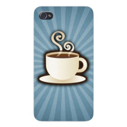 Apple Iphone Custom Case 4 4s White Plastic Snap on - Hot Coffee in Mug Steaming w/ Stripe Background