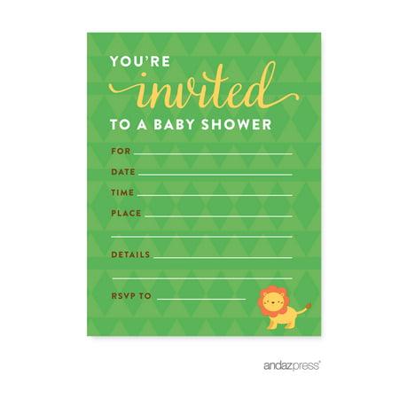 Jungle Safari Baby Shower Blank Invitations, 20-Pack - Jungle Safari Baby Shower