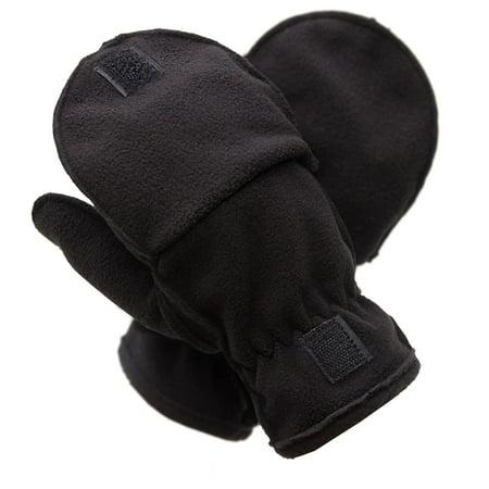 Pierre Cardin Men's Gloves (Fleece Fliptop Black, 3XL)
