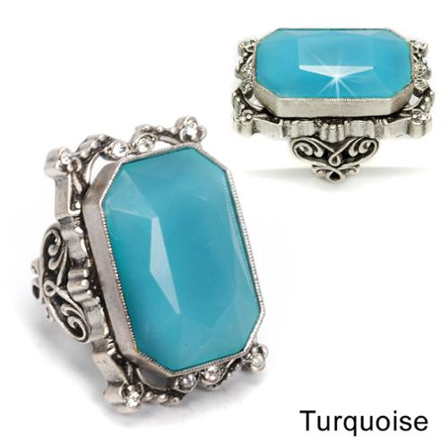 Sweet Romance  Octagon Crystal Statement Ring Turquoise