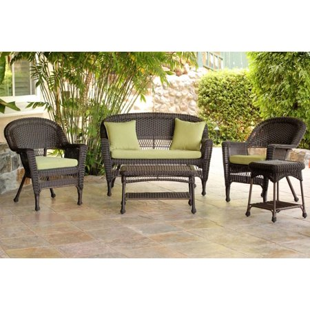 wicker patio chair loveseat table furniture set green cushions