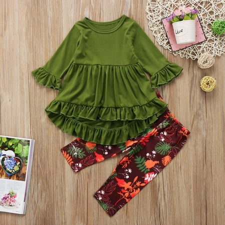 Fashion Toddler Kids Girls Dress Tops Floral Pants Leggings Outfits Clothes Set