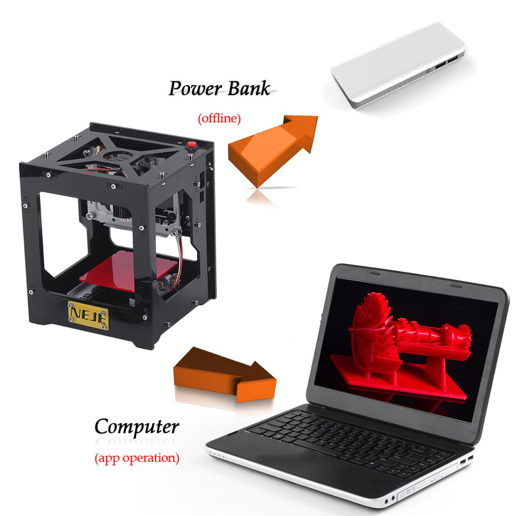 1000mW Miniature DIY Laser Engraver Engraving Machine Laser Engraver Mini USB Engraver Printer with High Speed for IOS/Windows/Android Devices