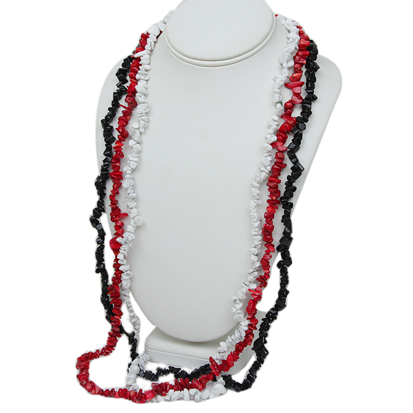 "Set of 3 Pink Coral 34"" White Howlite 34"" Black Onyx 34"" Chip Necklace"