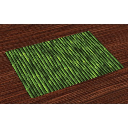 Bamboo Placemats Set of 4 Bamboo Stems Pattern Tropical Nature Inspired Background Print Asian Wildlife Zen Theme, Washable Fabric Place Mats for Dining Room Kitchen Table Decor,Green, by Ambesonne