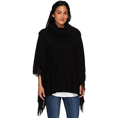 Layers Lizden Marvelush Cowl Neck Fringed Poncho A267185