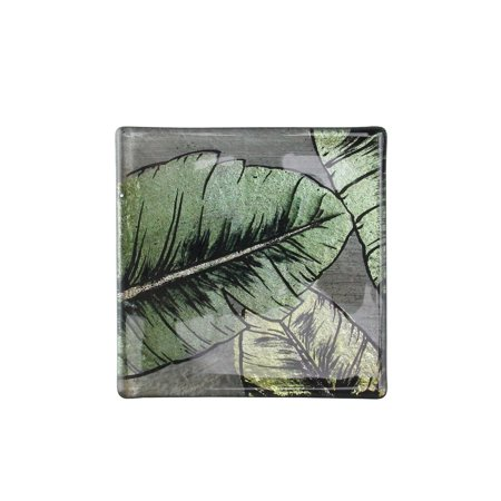 Lighted Coasters (Set of 4 Metallic Green and Gray Hand Painted Tropical Palm Leaf Beverage Coasters)