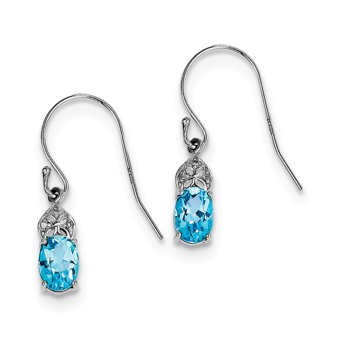 Sterling Silver Rhodium-plated Diamond and Blue Topaz Earrings by CoutureJewelers