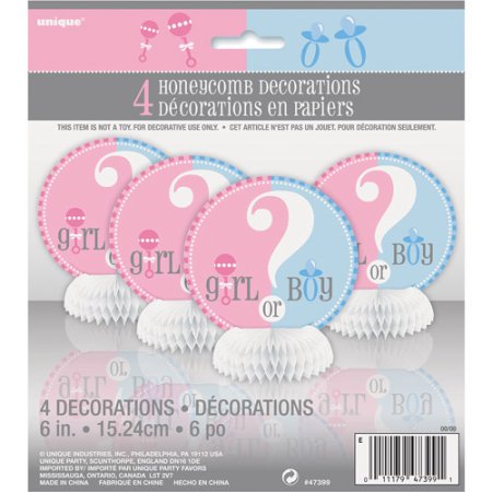 (4 Pack) Unique Gender Reveal Party Centerpiece Decorations, 6 in, 4ct Hot Pink Centerpieces