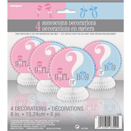 (4 Pack) Unique Gender Reveal Party Centerpiece Decorations, 6 in, - Gender Reveal Party Packages