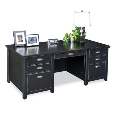 Tribeca Double Center (Martin Furniture Tribeca Loft Black Double Pedestal Desk )