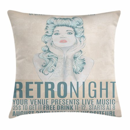 Indie Throw Pillow Cushion Cover, Retro Night Theme Poster Design Attractive Woman with Old Fashioned Hair Style, Decorative Square Accent Pillow Case, 16 X 16 Inches, Tan Slate Blue, by - Old Lady Hair