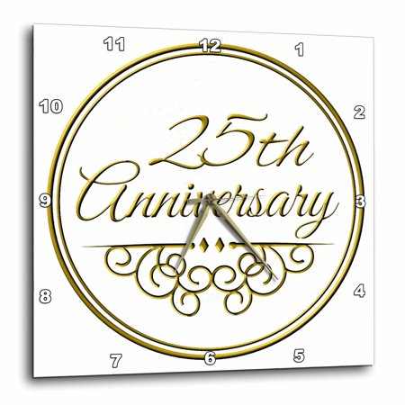 3dRose 25th Anniversary gift - gold text for celebrating wedding anniversaries - 25 years married together, Wall Clock, 10 by 10-inch