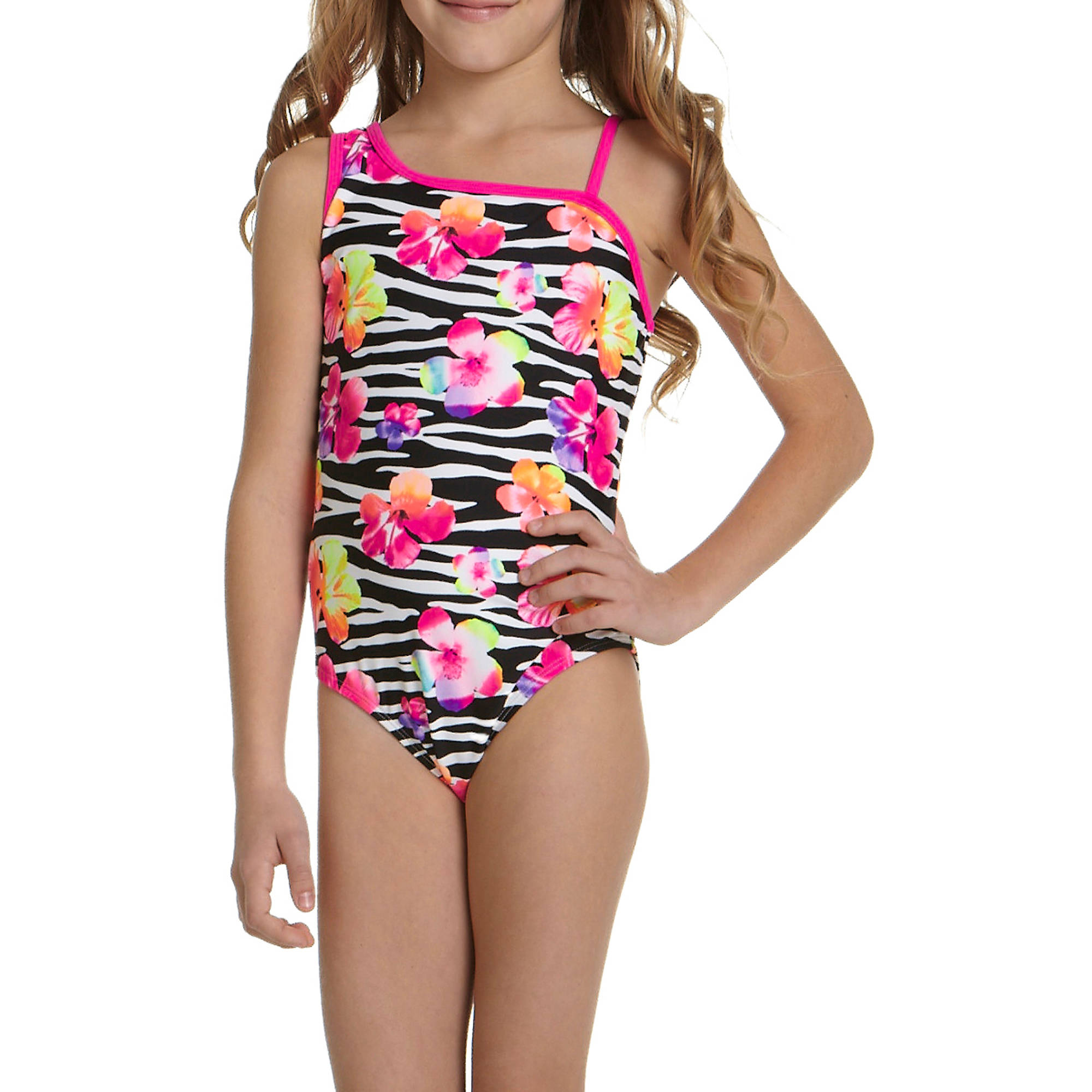 OP Girls' Zebra Punch One Piece Swimsuit
