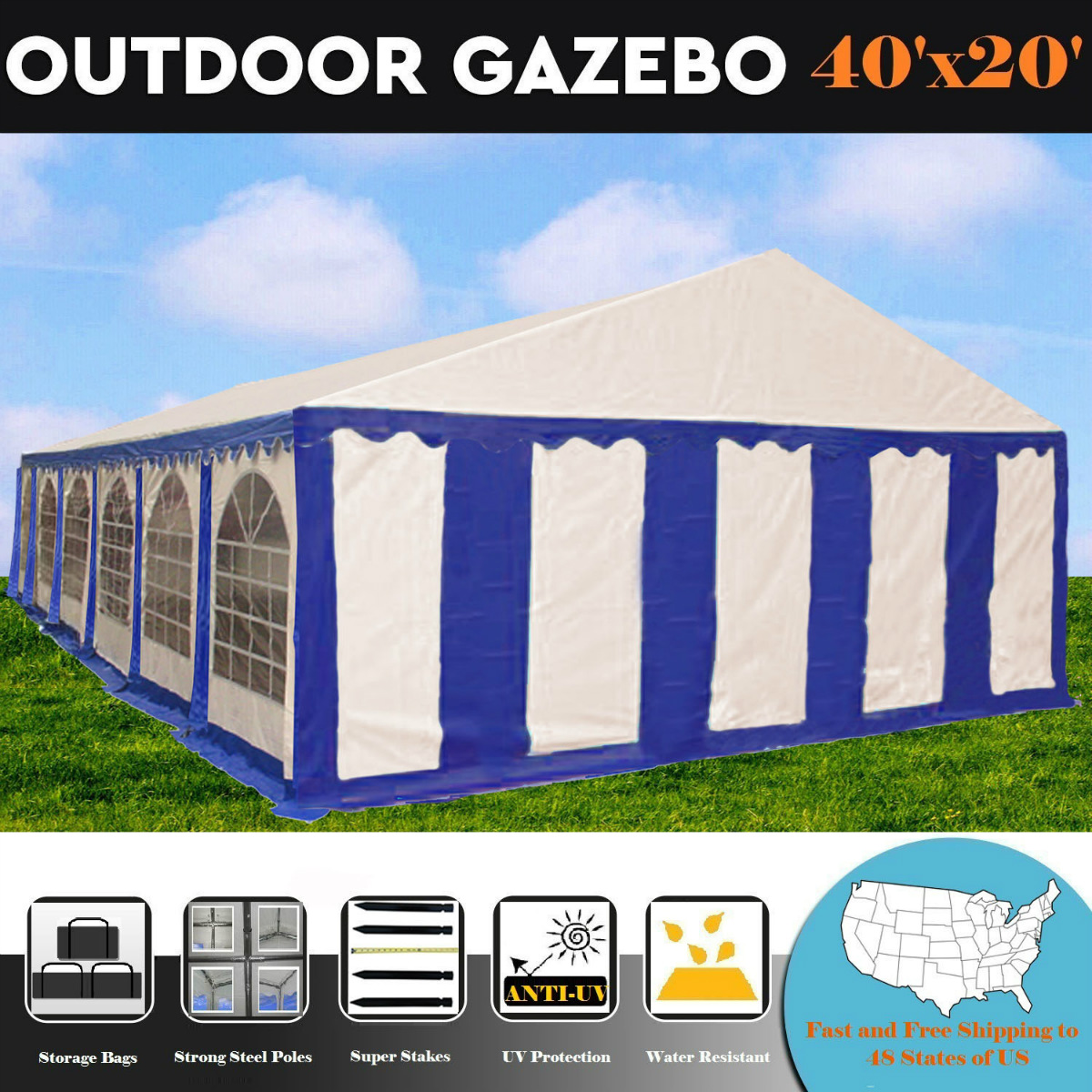 40'x20' PE Blue/White Tent - Heavy Duty Wedding Party Canopy Carport Shelter - By DELTA Canopies