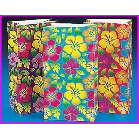 Fun Express Luau Party Supplies Hibiscus Paper Bags (12 Piece)](Luau Party Bags)