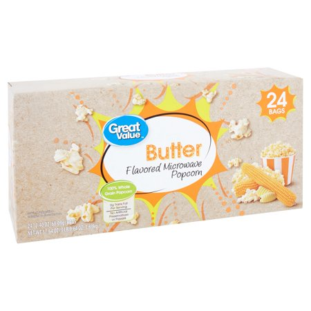 Great Value Butter Flavored Microwave Popcorn, 2.40 Oz., 24 Count