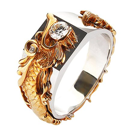 Fancyleo Vintage Gold Color Free Shipping Dragon Ring Mens Jewelry For Men Lord Wedding Band Male Ring For (Best Male Wedding Rings)