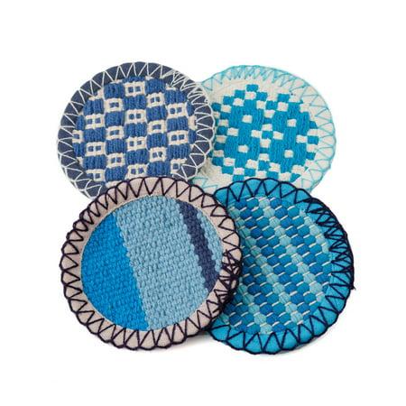 Thirstystone Indigo Collection Blue Check, Stripe and Shibori Cotton Coasters, Set of 4 (Blue Coasters)