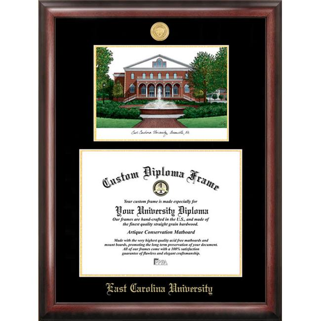Campus Images NC995LGED East Carolina University Gold embossed diploma frame with Campus Images lithograph