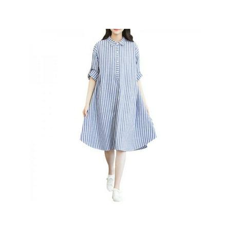 Women Cotton Linen Striped Midi Dress Loose Casual Shirt Dress Half Sleeve Dress (Linen Shift Dress)