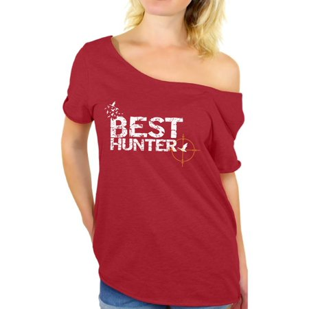 Awkward Styles Best Hunter Off Shoulder Shirt for Women Best Hunter Ever Ladies Off The Shoulder Shirt Hunting Lovers Oversized T-Shirt for Her Hunting Birthday Gifts for Her Best Hunter