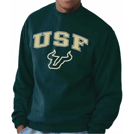 NCAA Adult Arch & Logo Gameday Crewneck Sweatshirt (USF Bulls - Green, Large) (Husky Mit Sonnenbrille)