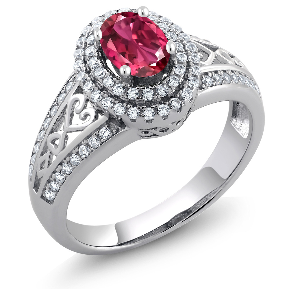1.24 Ct Oval Pink Tourmaline 925 Sterling Silver Ring by