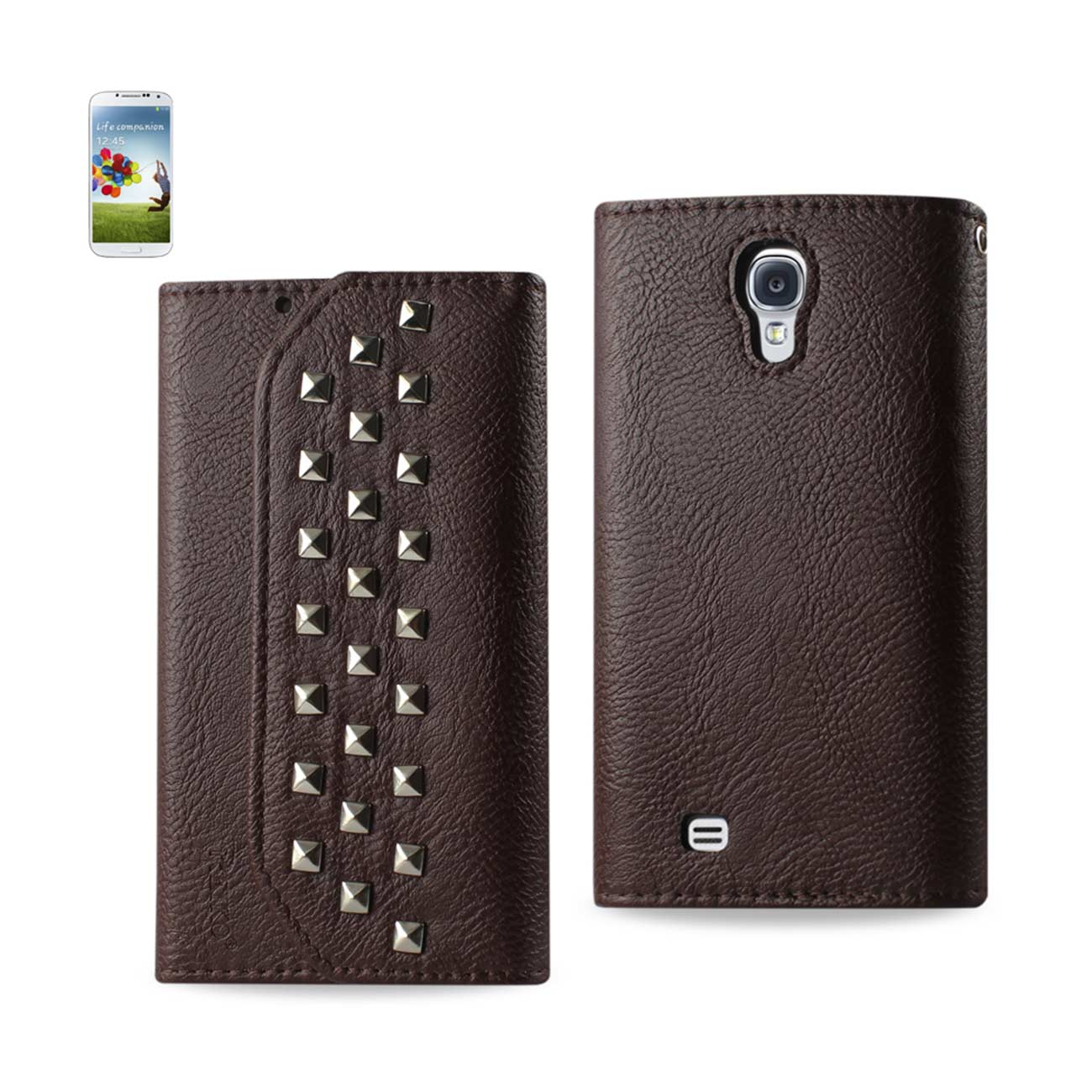 SAMSUNG GALAXY S4 STUDS WALLET Leather Folio Pouch Flip Case Cover Stand WITH CARD HOLDER