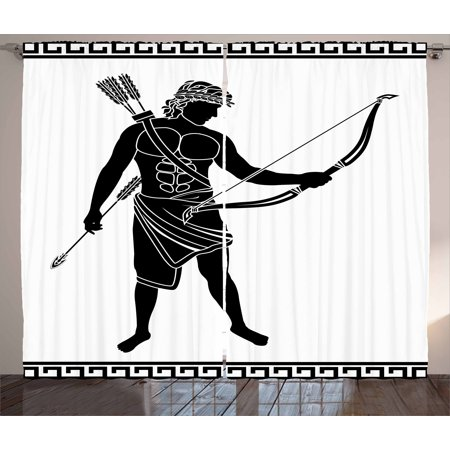 Toga Party Curtains 2 Panels Set, Hellenic Bowman Silhouette Eros Fantasy Gladiator Old Mediterranean Print, Window Drapes for Living Room Bedroom, 108W X 63L Inches, Black and White, by Ambesonne