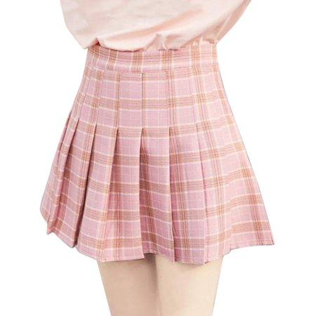 Pleated Cheerleading Skirt - Women Girls High Waist Pleated Min Skirt School Uniform Cheerleading Costume