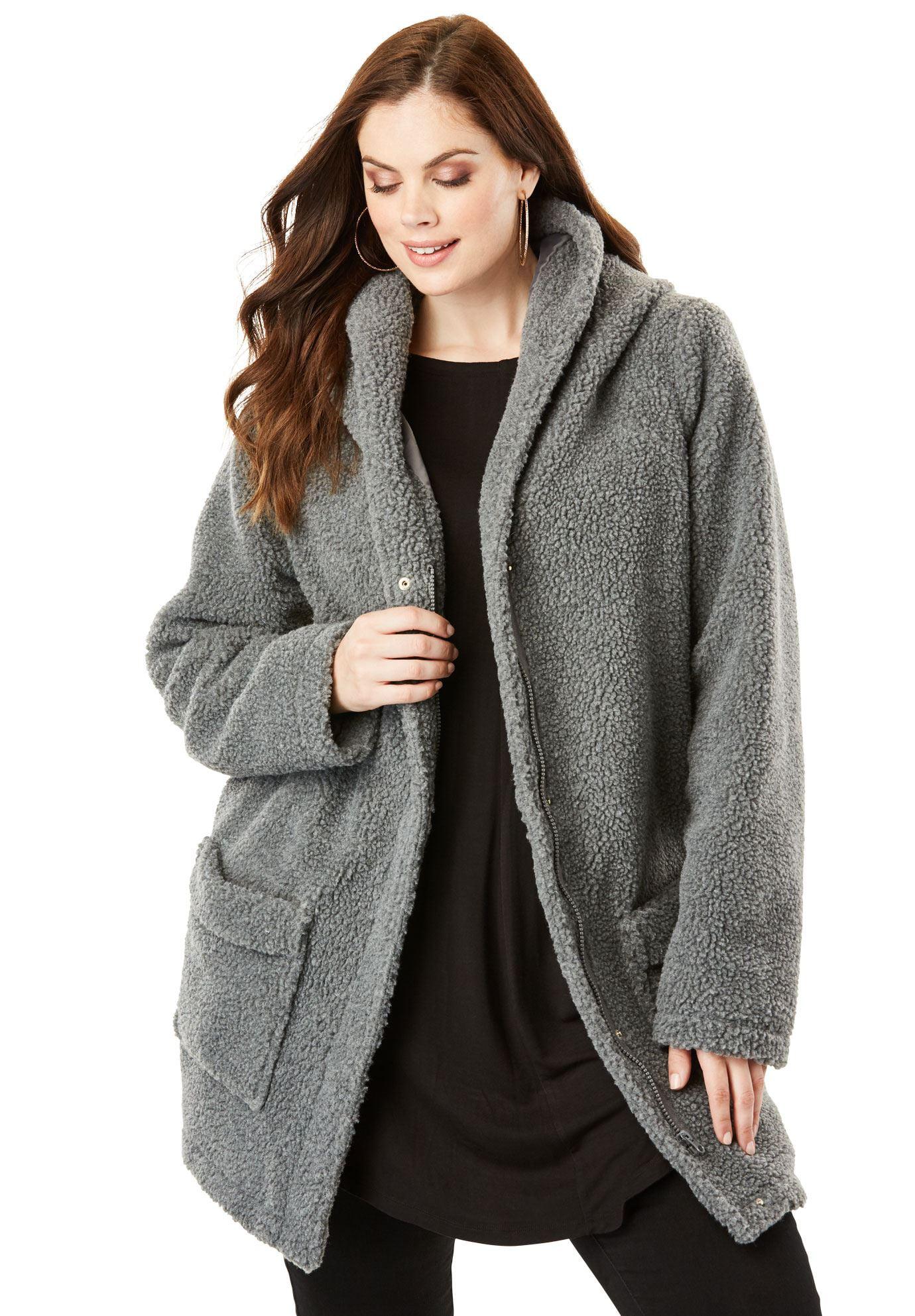 089d513e90e Roaman s - Plus Size Hooded Textured Fleece Coat - Walmart.com