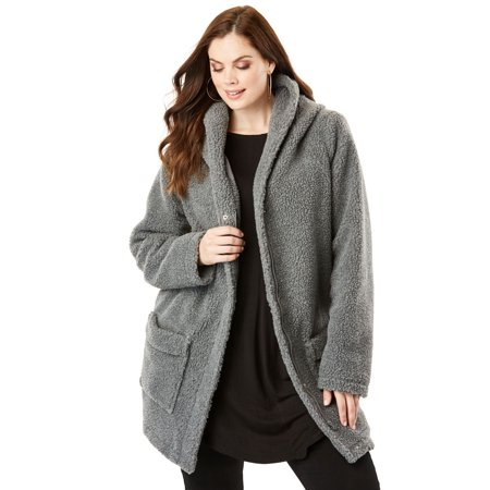 e7bbe5cc1a Roaman s - Plus Size Hooded Textured Fleece Coat - Walmart.com
