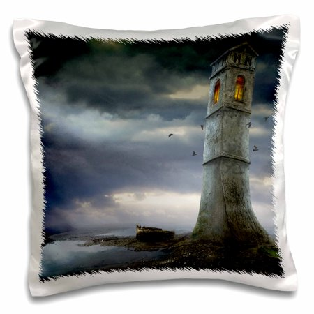 3dRose Lighthouse Old lighthouse somewhere in the world - Pillow Case, 16 by 16-inch