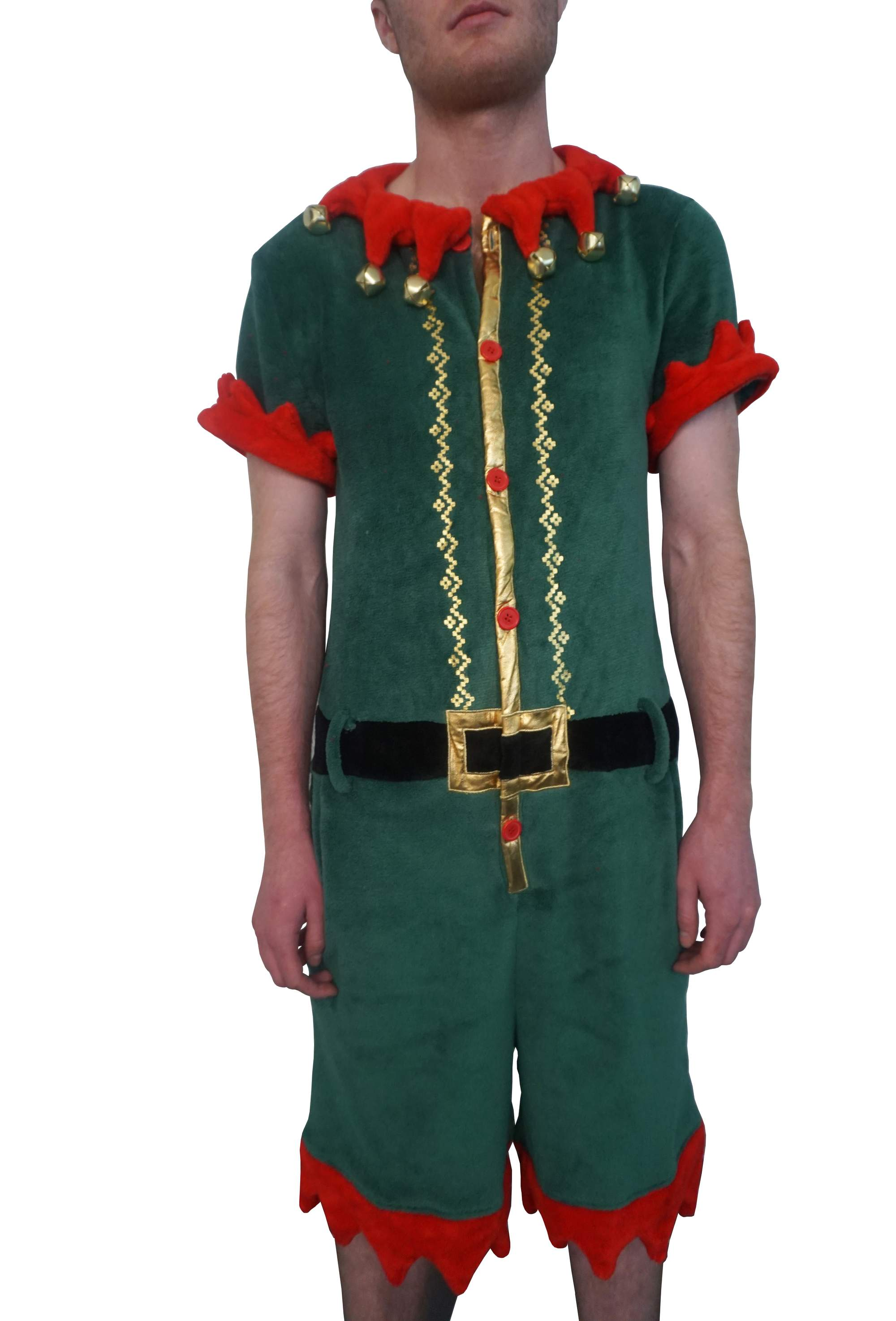 Holiday Men's Elf Ugly Christmas Romper, up to size 2XL