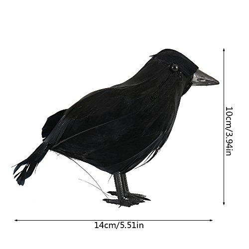 Lifelike Black Feathered Raven Halloween Decor//Fake Crow Prop Scary Hunting Prop