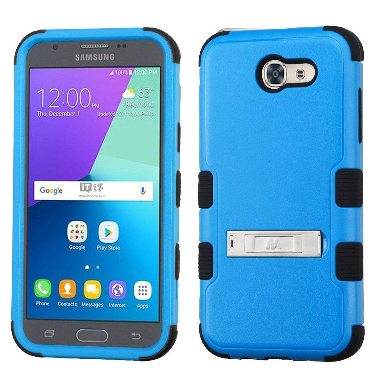 Insten [Shock Absorbing] Hybrid Rubberized Hard Plastic/Silicone Case Cover for Samsung Galaxy J3 Luna Pro J3 Emerge J3 2017, Blue/Black
