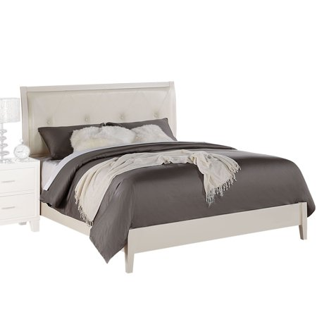 ACME Tyler Queen Bed in Cream PU & White, Multiple Sizes