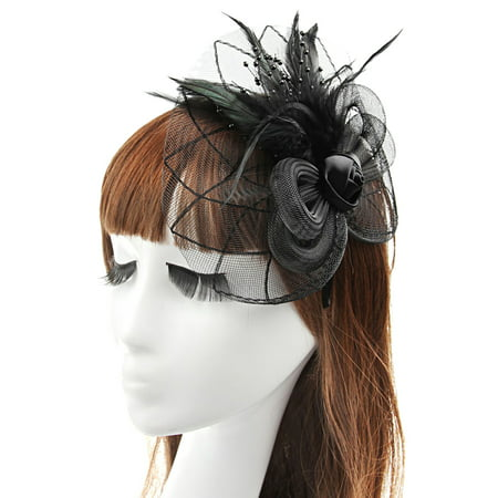 Flower Hat Band - Luxury Wedding Hat, Coxeer Party Prom Fascinators Loop Flower Feather Pillbox Hat for Women Ladies Girls(Black)
