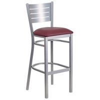 Flash Furniture HERCULES Series Silver Slat Back Metal Restaurant Barstool, Vinyl Seat, Multiple Colors