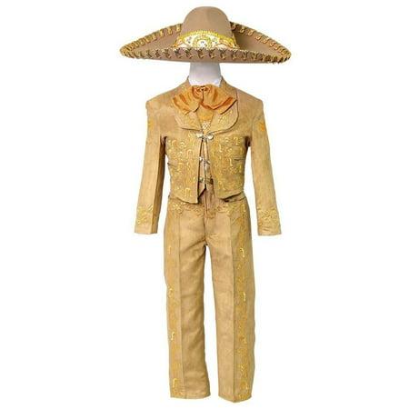 Little Boys Tan Embroidered Mariachi Pants Jacket Hat Set - Mariachi Uniform