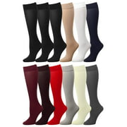 12 Pairs Women Trouser Socks with Comfort Band Stretchy Spandex Opaque Assorted Color