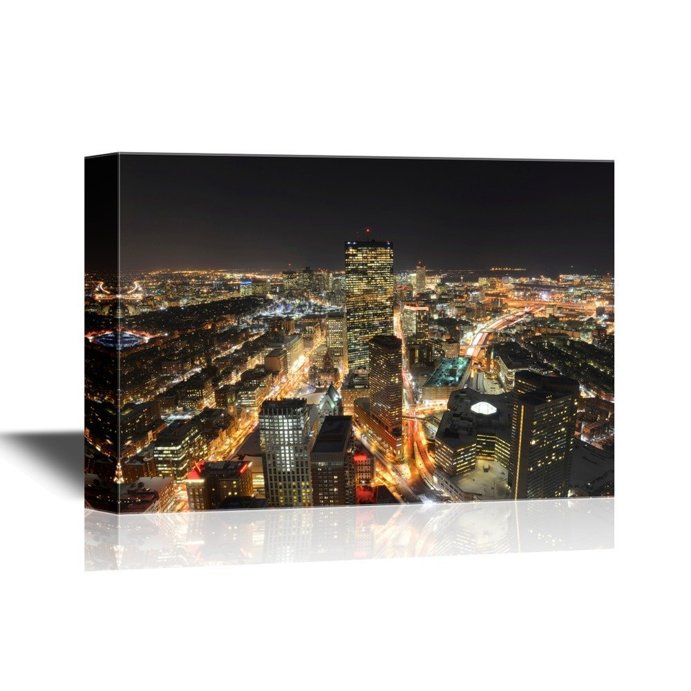 wall26 USA City Skyline Canvas Wall Art - Boston John Hancock Tower and Back Bay Skyline at Night, Massachusetts - Gallery Wrap Modern Home Decor | Ready to Hang - 12x18 inches